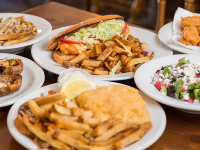 Halibut Line-up at Fancy's Fish and Chips in Barrie